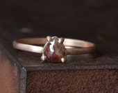 Natural Rose Cut Red Diamond Ring in 14kt White Gold