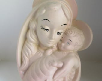 Beautiful Vintage Hull Madonna & Child Blush Pink Planter 26