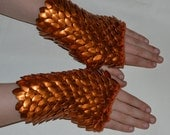Scale Maille Armor Gauntlets in knitted Dragonhide Orange