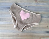 Cashmere panties in soft tan with pink heart  - cashmere underwear lingerie hipster panties - made to measure - econica