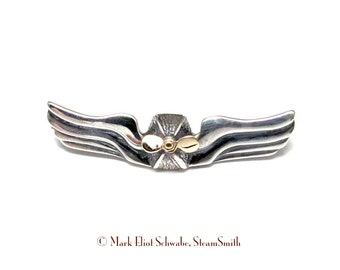 SteamPunk Airship Commanders Wings - 14k gold & sterling silver double tac pin
