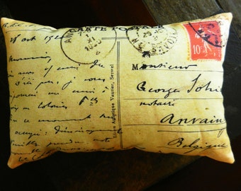 French Postcard Pillow, Antique Postcard Pillow, Cottage Chic French Country Decorative Pillow, 1920 Postcard Accent Pillow 7 1/2 x 11 1/2""