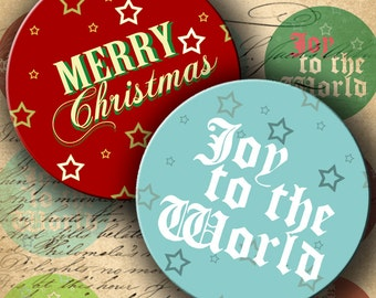 INSTANT DOWNLOAD Christmas 2.25 inch Circles for Pocket Mirrors - DigitalPerfection digital collage sheet 1008
