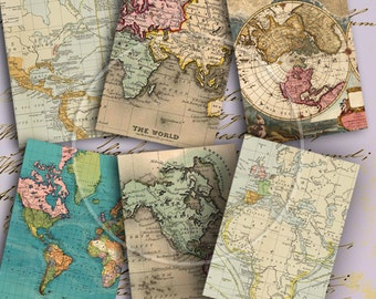 Instant Download Vintage Antique Map of the World ATC ACEO or Jewelry Holders 2.5 X 3.5 inch - DigitalPerfection digital collage sheet 1016