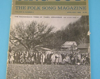 "Vintage ""Sing Out!"" The Folk Song Magazine April-May 1966 Issue~Rackensack Tribe of Timbo Arkansas on Cover"
