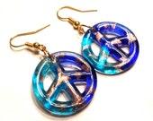 Peace sign earrings, dichroic glass earrings, cobalt blue and aqua blue
