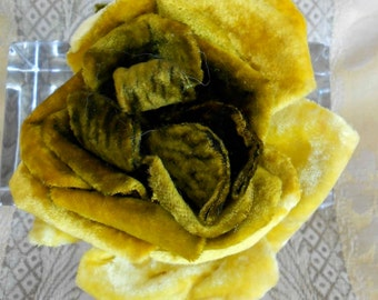 1920's Golden Yellow Silk Velvet Rose