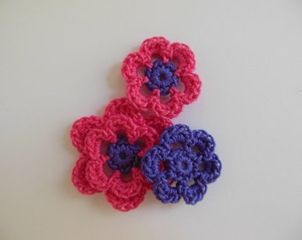 Crocheted Flower Combo - Hot Pink and Violet - Cotton Flowers - Crocheted Flower Appliques - Crocheted Flower Embellishments