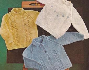 "PDF Knitting Pattern Baby Jumper and Cardigan Sizes 20-24"" (Ro321)"