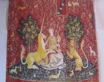 Medieval  Tapestry, lady and unicorn, wall  hanging, dollhouse tapestry, Tudor tapestry , twelfth scale dollhouse miniature