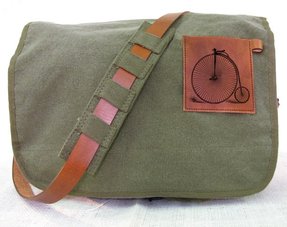 canvas messenger bag with leather accents bike bag - olive green