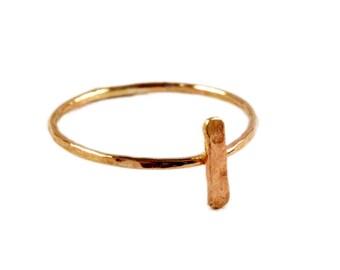 Hammered Bar Ring, Hammered Bar Stacking Ring