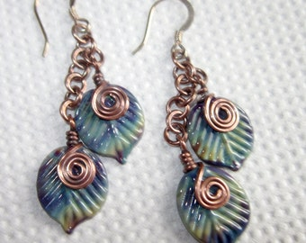 Glass Leaf and Copper Chain  Lampwork Earrings with Sterling Silver - UK - SRA