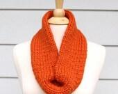 Hand knit chunky cowl scarf - Pumpkin orange infinity scarf - women's knit scarf - circle scarf - women's winter accessory - ready to ship