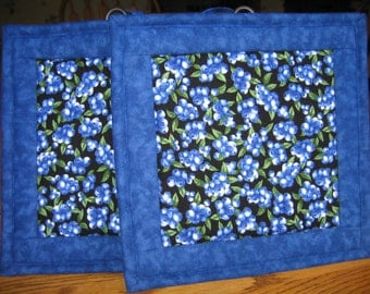 Quilted Pot Holders in a Blueberry on Black Pattern - Set of 2