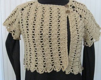 Tan Cropped Sweater Crochet Small