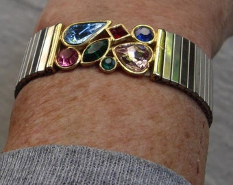 FREE US Shipping -1960'S Costume Bracelet:  Unsigned - Multi colored, multi shaped crystals - comfy stretchy stainless watch band style