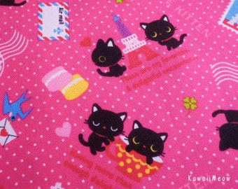 Kawaii Japanese Fabric - Love Kittens Polka Dots Pink - Fat Quarter - (ko131110)