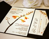 SAMPLE Pocketfold Woodland Flower Wedding Invitation, Red, Orange, Yellow, Grey, Blue, Outdoor, Garden Wedding Invite, Modern, Rustic, RSVP