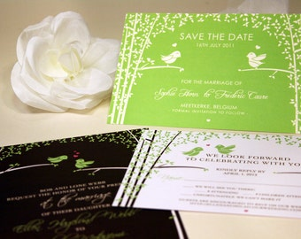 SAMPLE Love Birds Wedding Save the Date, Black and White, Green, Black, Brown, Trees, Sticker, Rustic and Modern, Forest Wedding Invitation
