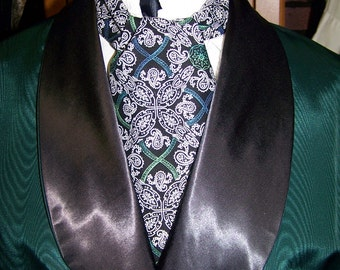"""Victorian Wedding Mens Ascot White/Black Floral Paisley with touch of Green and Teal cotton print fabric 4"""" x 43"""" Historial Wedding"""