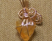 Natural Honey AGATE Gemstone Gold Wire Wrap Necklace Pendant with FREE gold chain SALE