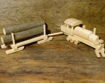 Lombard Steam Log Hauler Wood Toy Train Set Wooden Toys Handmade Hand made Paintable Childrens Kids Childs Boys Birthday Gift Present