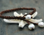 Leather and Pearls Anklet Cascade