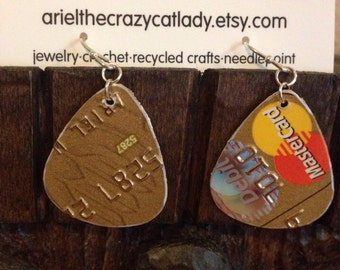 Recycled credit card earrings MasterCard Washington Mutual