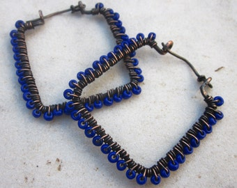 Large square hoop earrings wire wrapped patinaed copper and seed beads earrings blue earrings geometric jewelry
