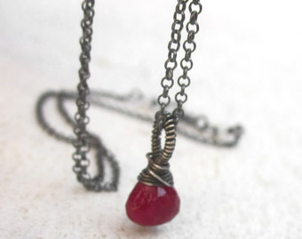 Genuine ruby briolette necklace, wire wrapped gemstone necklace, sterling silver solitaire necklace, July birthstone, minimal, MADE TO ORDER