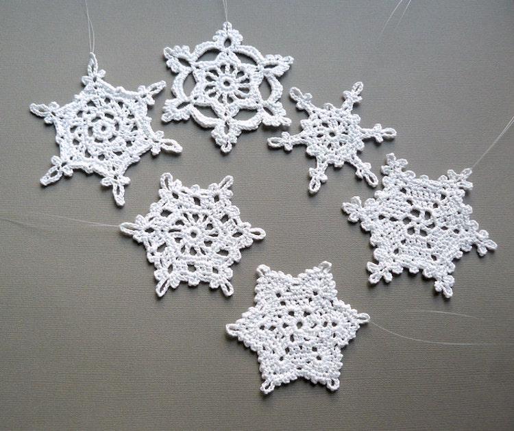 6 Crochet Christmas Decorations Large Snowflake By