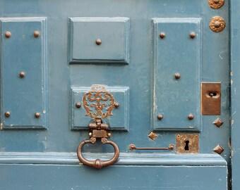 Robins Egg Blue Doors in Paris - Gold Accents - French Home Decor - Paris Photography - Door photo, Ile St Louis, Paris Prints