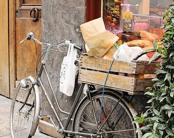 Bike Photography, Paris Market Basket, baguette, french butcher, brown bike basket, ile st louis, sunday in paris