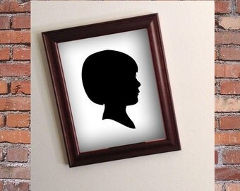 Custom Silhouette Portrait - Brown Framed  8x10 Art Print - Beautiful Christmas or Holiday Gift - Spring trending Face Portrait