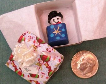Holiday Sale 40% Off - Miniature Jack in a box toy in a Balloon Gift Box with a white bow on top