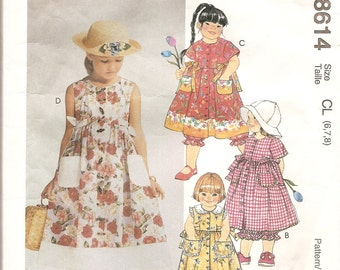1980s Girl Dress Pantaloons 1980s Pattern McCalls 8614 Uncut