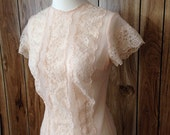 Vintage soft light pink lace sheer blouse top small