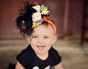 Halloween Candy Corn Over The Top Funky Bow Black OrangeYellow and White with Ostrich Puff on headband Free Shipping On All Additional Items