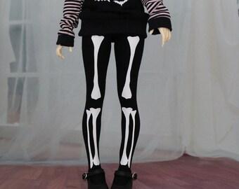 BJD Clothes - Skeleton Bone Leggings Minifee Size - Halloween, Goth, Lolita Style for abjd, Dollfie Pants
