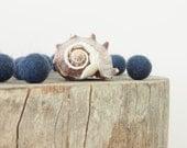Navy Felted Wool Beads, Felt Balls, Deep Dark Blue Needle Felting Craft Crafting Beach Sea Shell Nautical