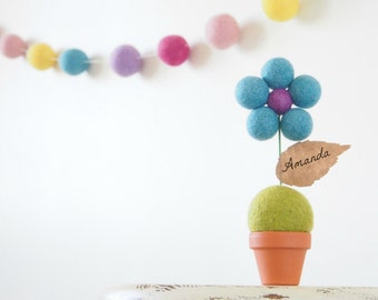 Felt Flower Nursery Art, Personalized Baby or Kid's Room Display, Children, Turquoise Pastel Rainbow