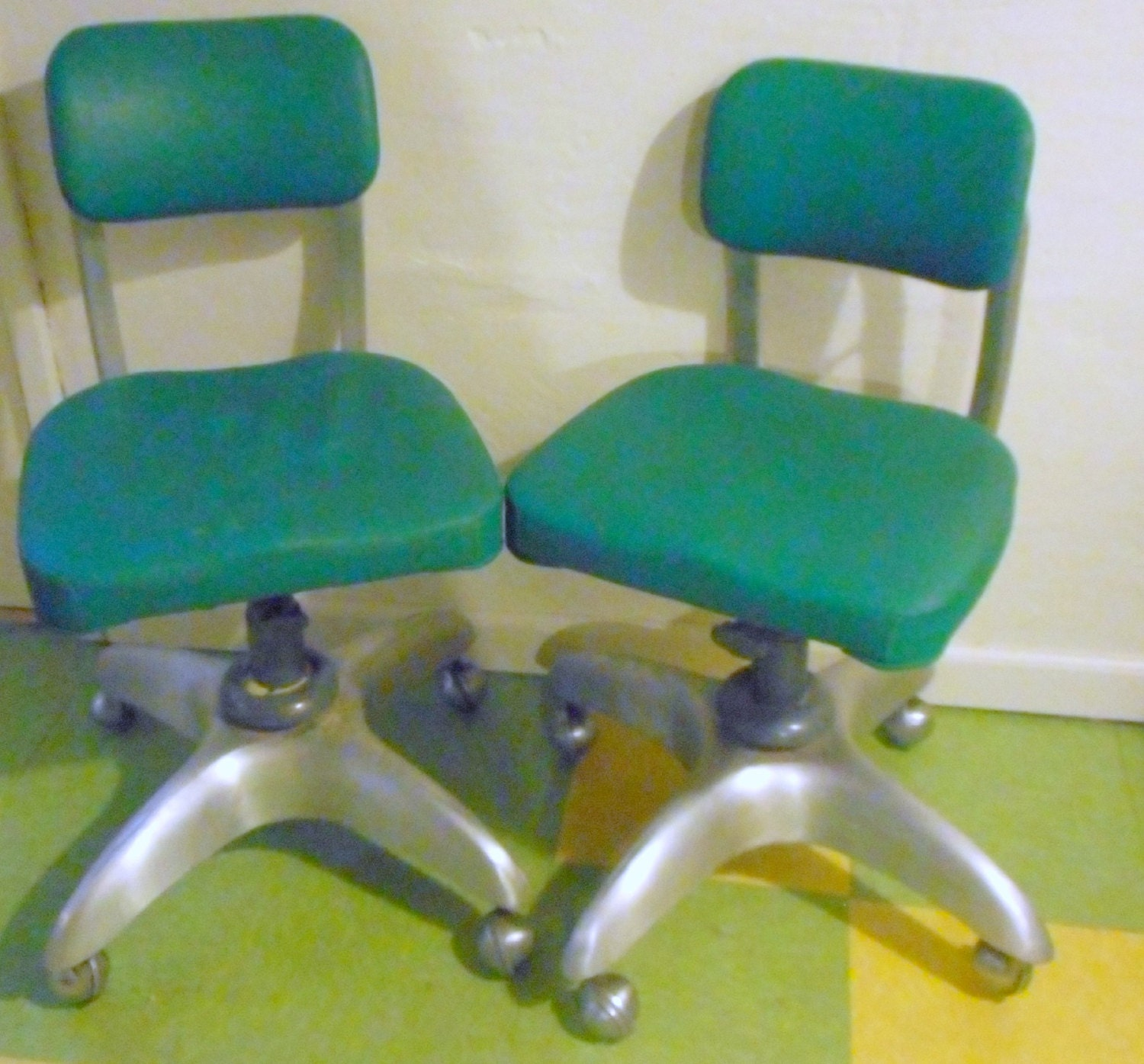 industrial age goodform swivel chairs pair aluminum base vintage gf