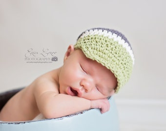 Boys Crochet Hat, Baby Boy Crochet Hat, Visor Hat, Toddler Boys Hat, Newborn Crochet Visor Hat Charcoal, cream and sage green, MADE TO ORDER