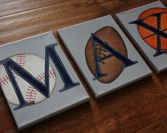 "8"" x 10"" Custom Personalized Name Wall Letters Sports Baseball Soccer Golf Basketball Football Canvas Art Boys Bedding Room Decor"