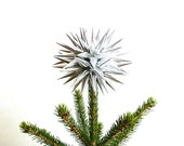 Modern Silver Christmas Tree Topper Paper Star Decoration Contemporary Tree Topper Star for Christmas Tree Holiday Decor - Sterling Silver