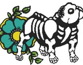 Modern Cross Stitch Kit ' English Bulldog ' By Illustrated Ink - Dog Day of the Dead Needle Craft Pattern with DMC Materials