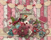 My Vintage Valentine - Digital Scrapbooking Kit - 14 Beautiful Papers and over 50 + Elements