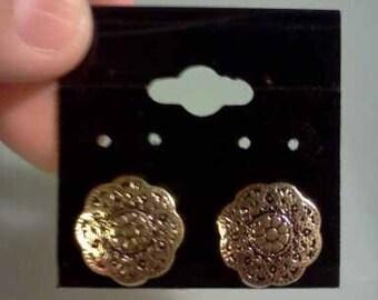 Gold Filigree Button  Earrings