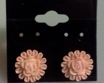 Pale Pink Peach Floral  Earrings